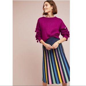 Anthropologie Rainbow Pleated Contrast Skirt XS